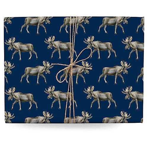 S/3 Moose Gift Wrap