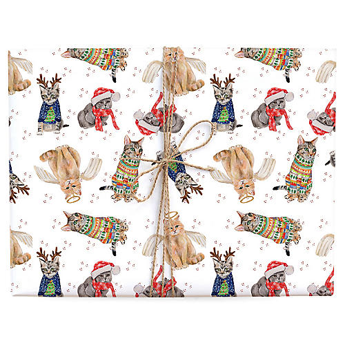 S/3 Cats in Holiday Outfits Gift Wrap