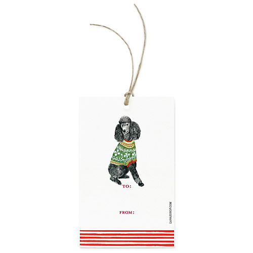 S/12 Festive Poodle Gift Tags