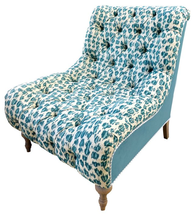 Cassidy Slipper Chair, Turquoise