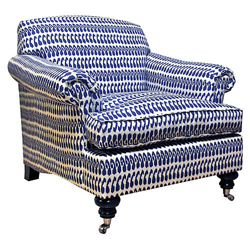Joplin Chair, Indigo Ikat