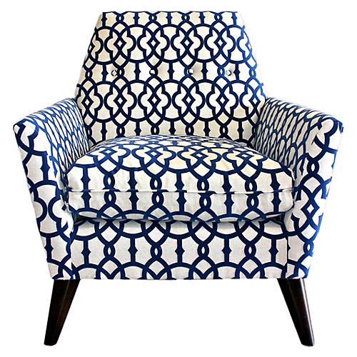 Porter Chair, Navy Velvet-Print