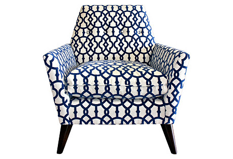 Porter Chair, Navy Velvet-Print