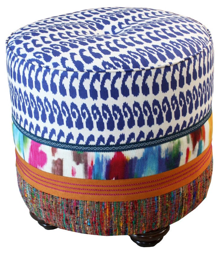 Dot Patterned Ottoman, Blue/Multi