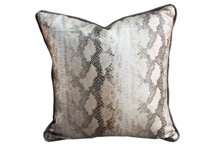Snake Pillow, Metallic Silver/Taupe