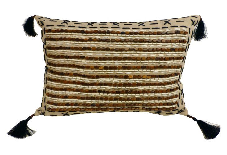 Wood Beaded Pillow, Beige