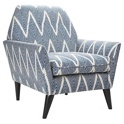 Porter Chair, Navy Chevron
