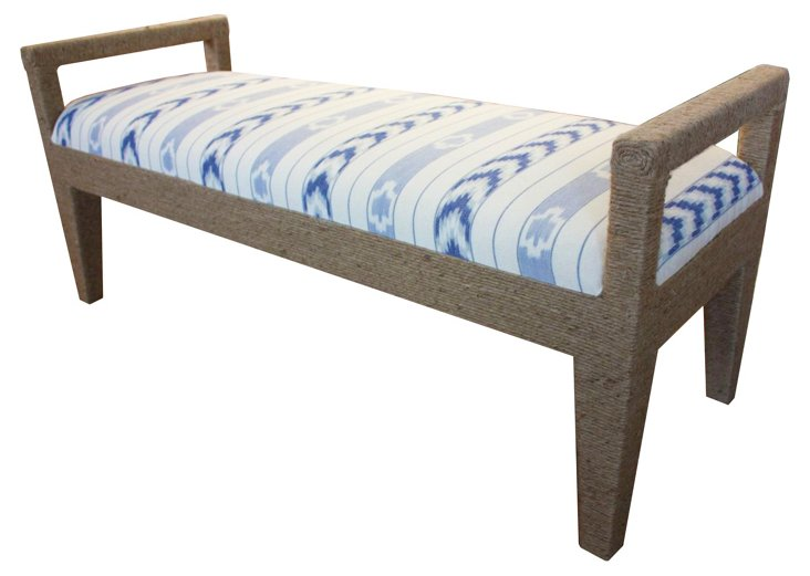 "Solana 54"" Rope Bench, Blue Solstice"