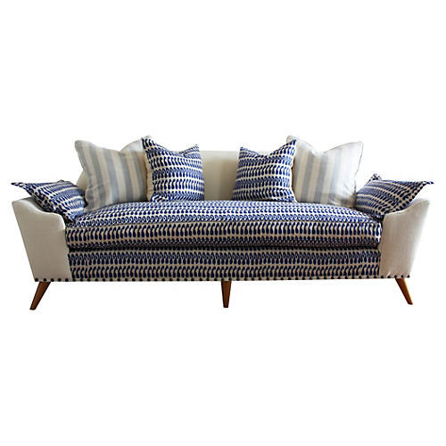 "Annelise 84"" Sofa, Indigo Batik/Cream"