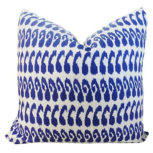 Ikat 20x20 Linen-Blend Pillow, Indigo