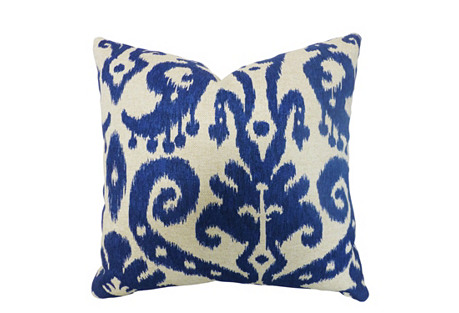 Ikat 20x20 Cotton-Blend Pillow, Blue
