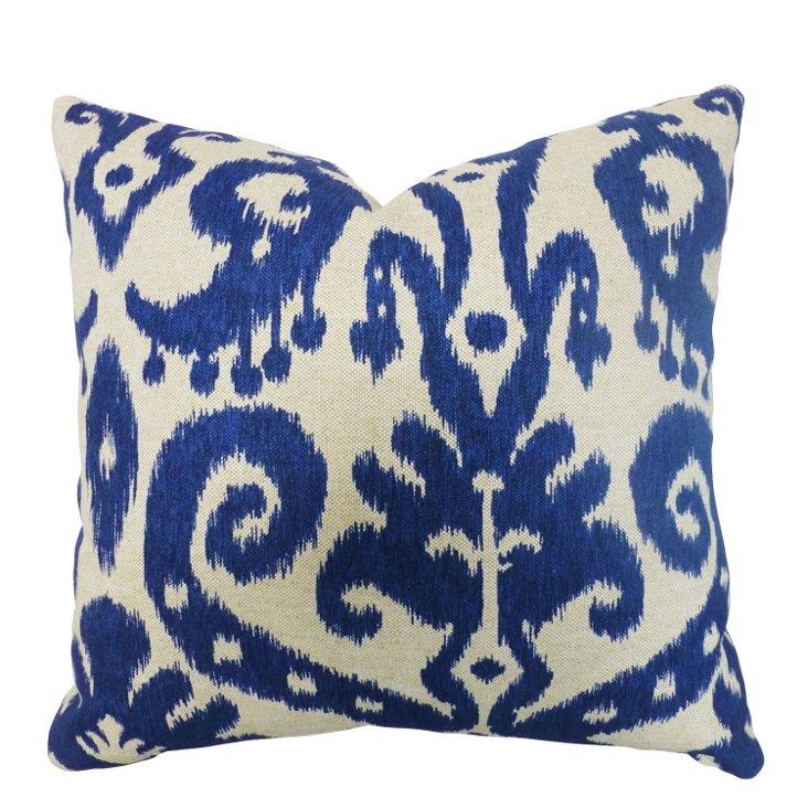 Ikat 20x20 Cotton-Blend Pillow, Blue