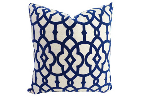 Faye 20x20 Cotton-Blend Pillow, Navy