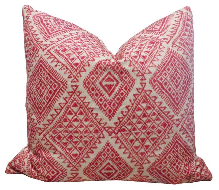 Tribal 20x20 Linen-Blend Pillow, Pink