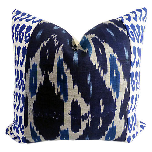 Raji 20x20 Cotton-Blend Pillow, Navy