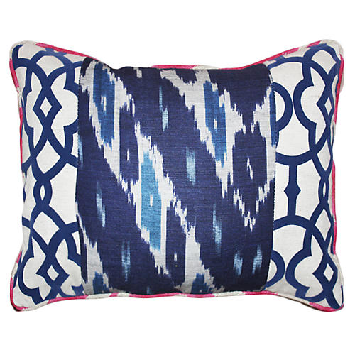 Raji 14x20 Cotton-Blend Pillow, Navy