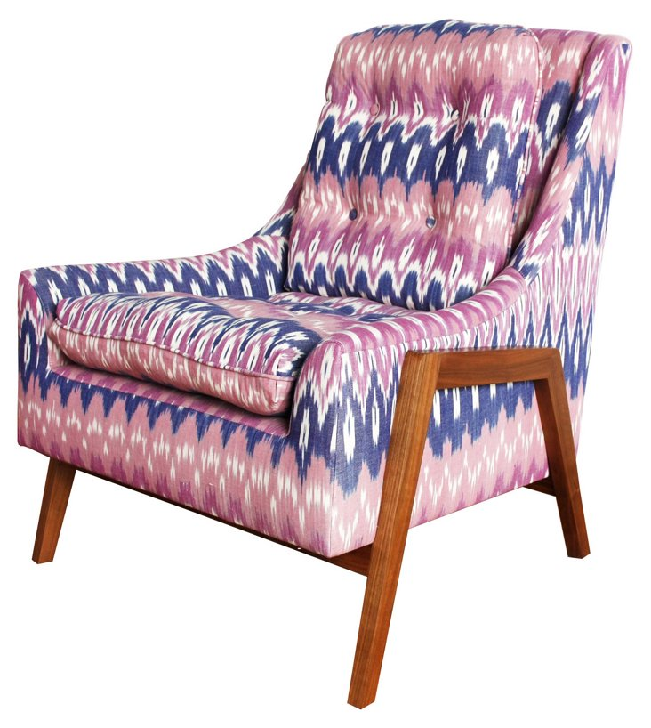 Grace Cotton Chair, Pink/Navy