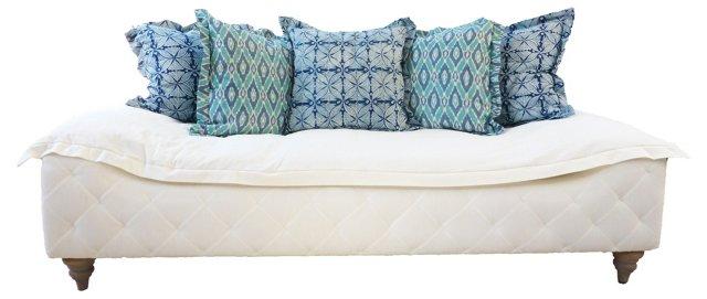 """Birger 87"""" Tufted Duvet Sofa, White"""