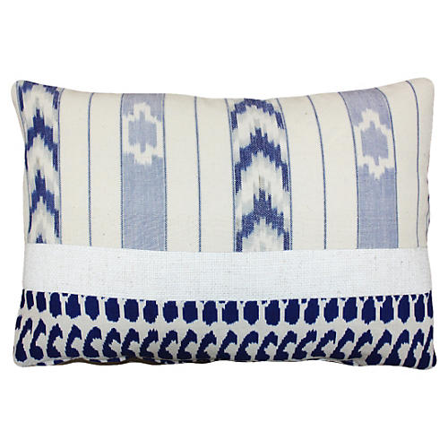 Terry 14x20 Cotton Pillow, White/Navy