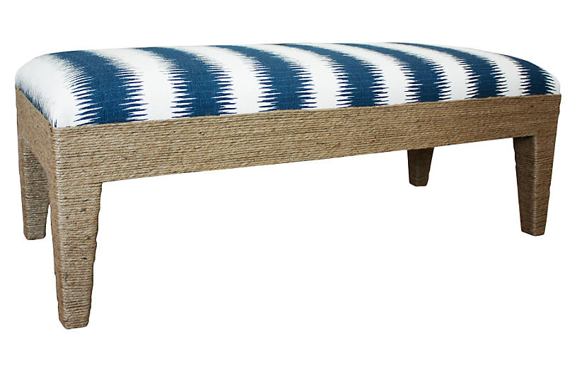 Del Mar Bench, Indigo/Cream