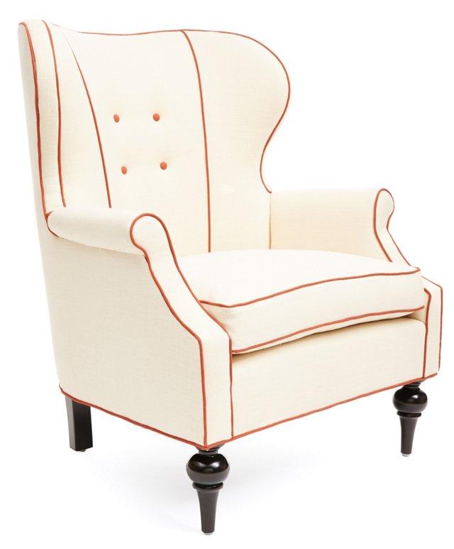 Abbey Wingback Chair, Cream/Orange