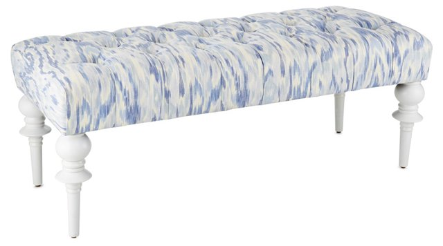"""Celine 48"""" Tufted Bench, Periwinkle"""