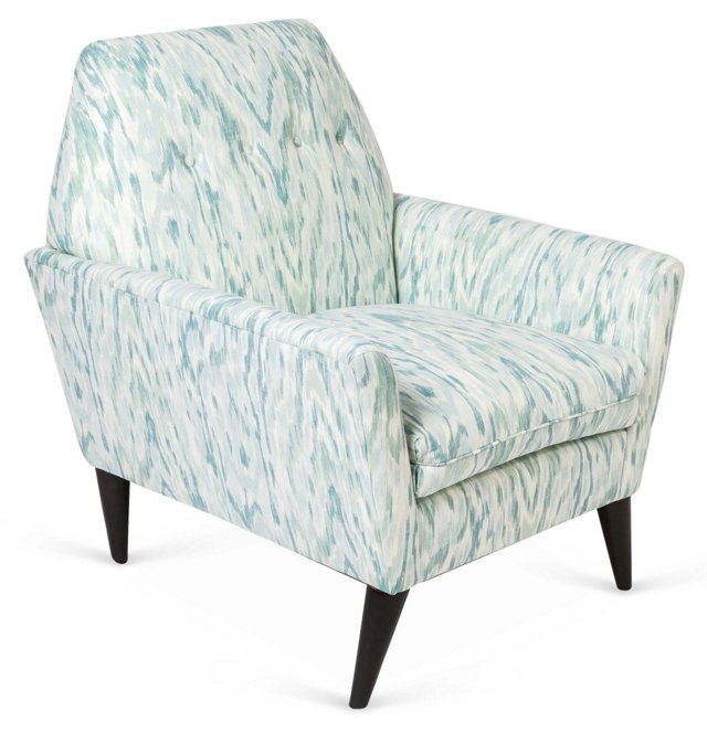 Porter Ikat Chair, Aqua