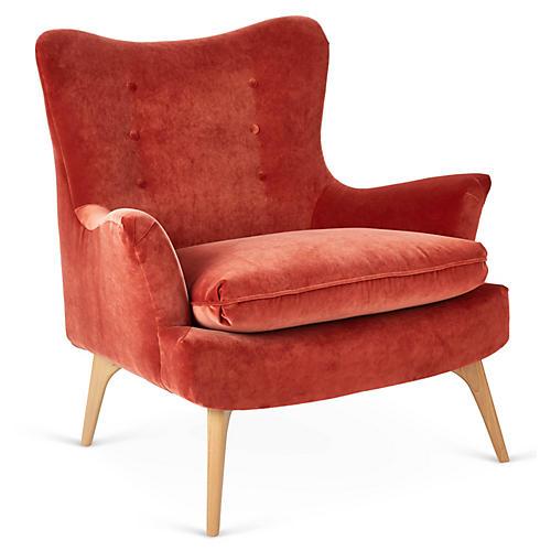 Sonja Accent Chair, Cinnabar Velvet