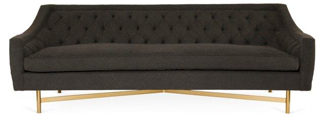 "Coco 93"" Tufted Sofa, Charcoal"