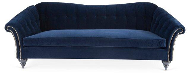 """Sebastian 93"""" Tufted Sofa, Navy Velvet"""