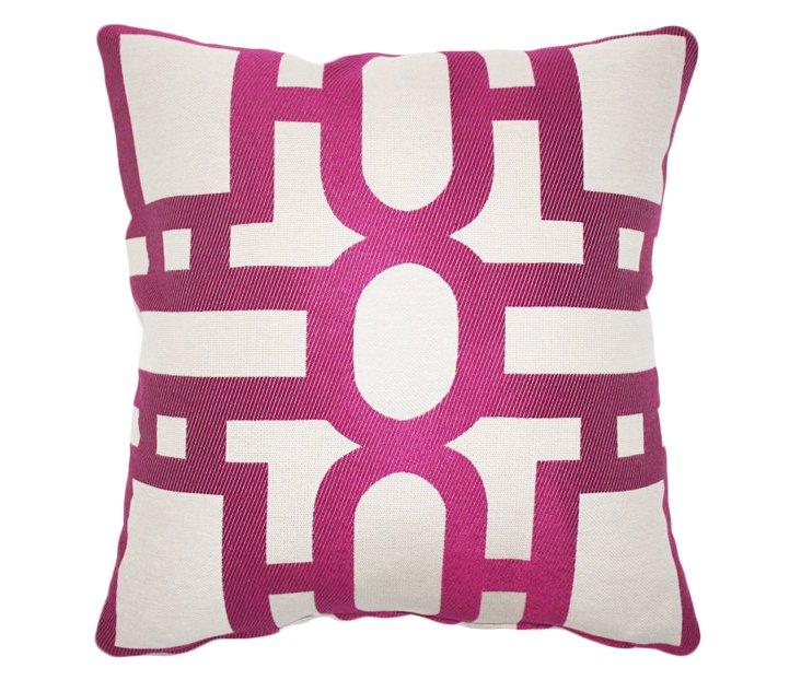 Trellis 20x20 Cotton Pillow, Fuchsia