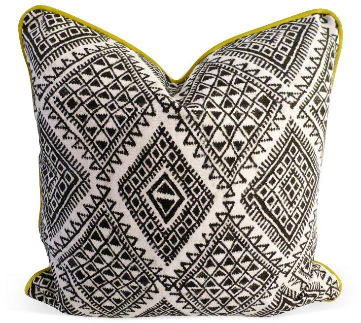 Tribal 20x20 Cotton-Blend Pillow, Black