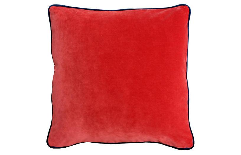 Marlon 20x20 Velvet Pillow, Burnt Orange