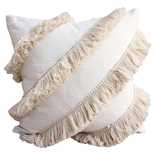 Tassel 20x20 Linen-Blend Pillow, Ivory