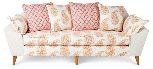 "Annelise 84"" Sofa, Orange Paisley"