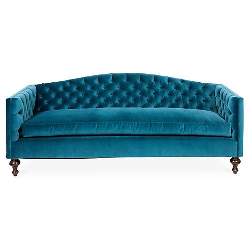 Victoria Tufted Sofa, Cyan Velvet