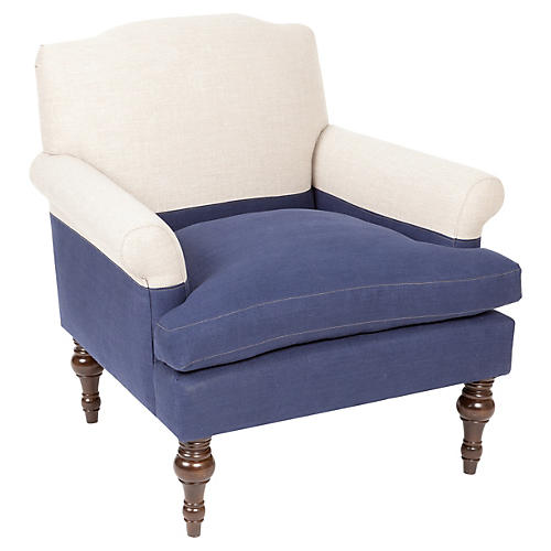 Eastwood Chair, Navy/Oatmeal