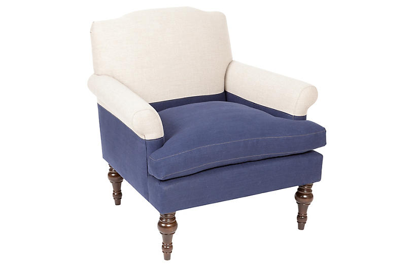 Eastwood Club Chair, Navy/Oatmeal