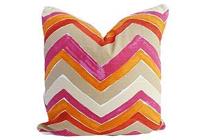 Wiltern 20x20 Cotton Pillow, Orange/Pink*