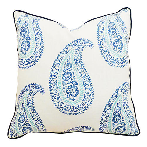 Paisley 20x20 Linen-Blend Pillow, Blue