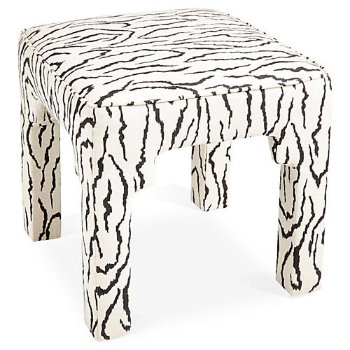 Hicks Stool, Black/White Zebra