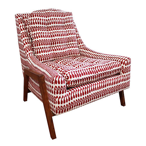 Grace Chair, Red Ikat