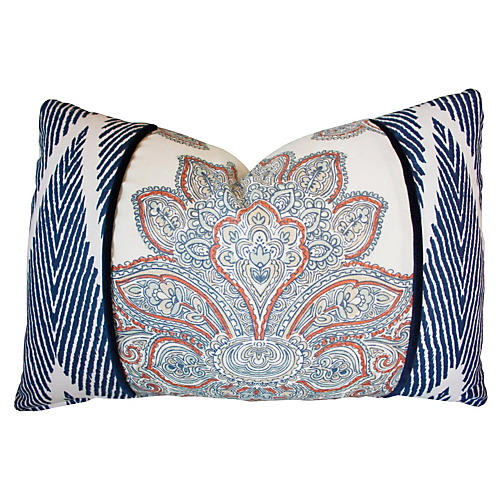 Lotus 16x24 Cotton Pillow, Blue