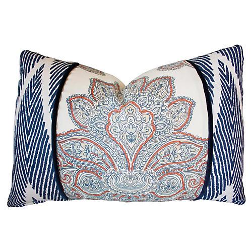 Lotus 16x24 Cotton Pillow, Blue