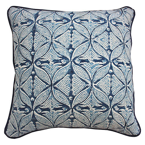Chic 20x20 Cotton-Blend Pillow, Indigo