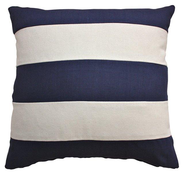 Stripe 20x20 Linen-Blend Pillow, Navy