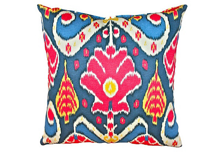 Chaya 20x20 Cotton Pillow, Blue Multi