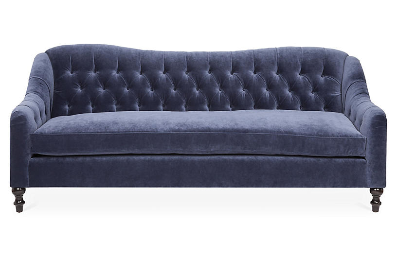 Waverly Tufted Sofa, Navy Velvet