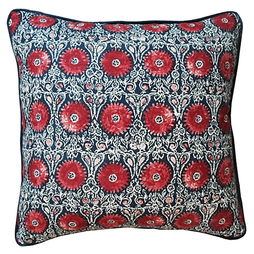 Riya 20x20 Pillow, Navy/Red