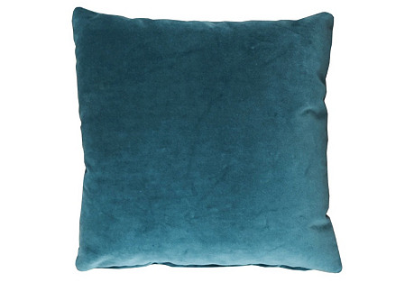 Cambridge 20x20 Velvet Pillow, Cyan
